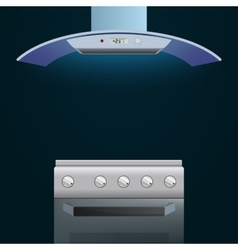 Modern oven and extractor on a dark background vector image vector image