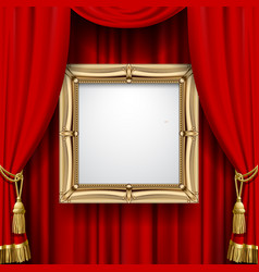 Red curtain with a gold frame vector
