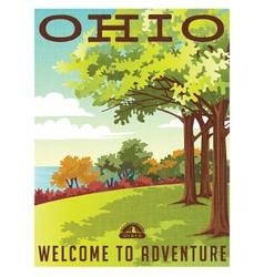 Retro travel poster series Ohio landscape vector image