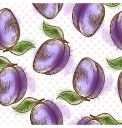 Seamless pattern with plum vector image