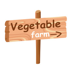 wood plaque with direction index to vegetable farm vector image vector image