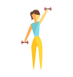 young woman exercising with dumbbells colorful vector image