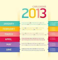 Calendar 2013 modern soft color vector