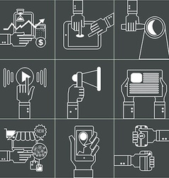 Set of linear business concept with hands vector image vector image