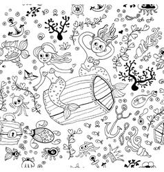 Underwater seamless pattern background Monochrome vector image