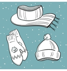 Winter Clothes Objects vector image