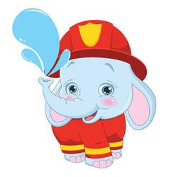 cartoon fireman elephant vector image