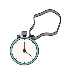 color sketch silhouette stopwatch with timer and vector image
