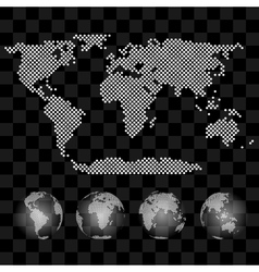 Different views of transparent globe with vector image vector image
