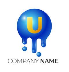 u letter splash logo blue dots and bubbles letter vector image vector image