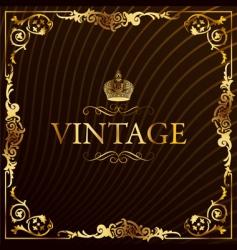 vintage gold frame decorative background vector image vector image