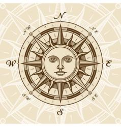 Vintage sun compass rose vector