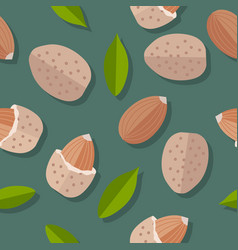 almond nuts seamless pattern vector image