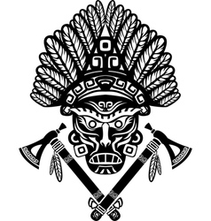 American Indian mask with headdress of feathers vector image vector image