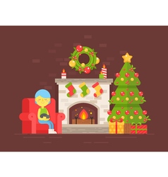 christmas fireplace girl vector image