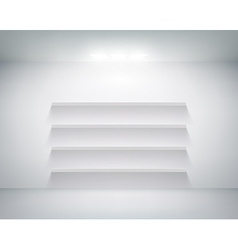 empty shelf on white wall vector image