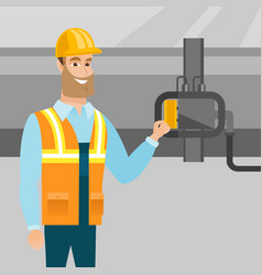 operator checking detector on gas pipeline vector image
