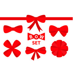 red ribbon christmas bow big icon set decoration vector image vector image