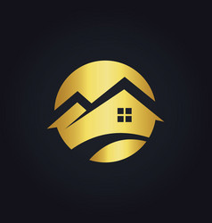 round house icon gold logo vector image vector image