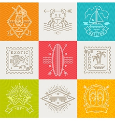 Summer vacation and travel emblems and signs vector image vector image