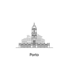 the city of porto european houses vector image