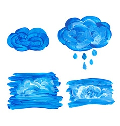 Watercolor cloud with drops vector image vector image