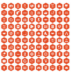 100 interface icons hexagon orange vector