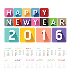 2016 Calendar colorful happy new year design vector