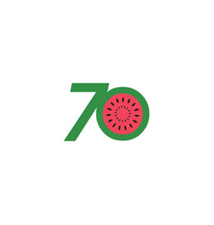 70 year anniversary fruit number template design vector