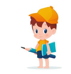 A boy in school uniform posing with huge pencil vector