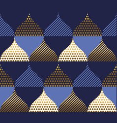 abstract blue and gold waves seamless pattern vector image