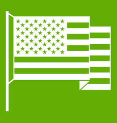 american flag icon green vector image