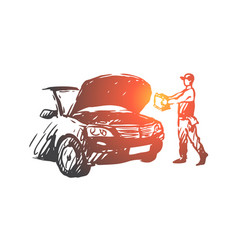 auto disassembly repair service mechanic vector image