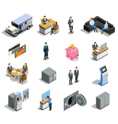 bank elements isometric icons set vector image
