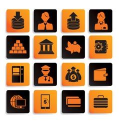Bank icon set black orange vector