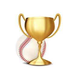 baseball award baseball ball golden cup vector image