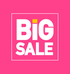 big sale flat design label on pink background vector image
