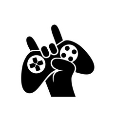 Black silhouettes joystick in hand gamer isolated vector