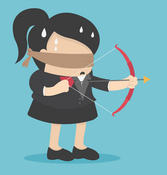 Blindfolded businesswomen are shooting arrows vector