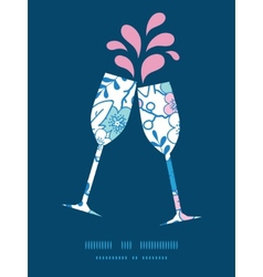 Blue and pink kimono blossoms toasting wine vector