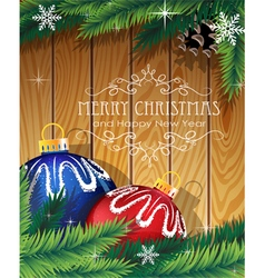 Blue and red Christmas balls on wooden background vector image