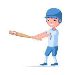 boy baseball player hits a bat ball vector image