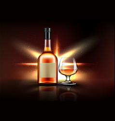 brandy bottle and glass strong alcohol drink vector image