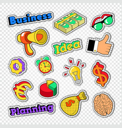 business idea stickers set badges and patches vector image