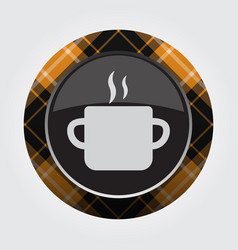 Button orange black tartan cooking pot and smoke vector