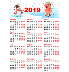 calendar 2019 year grid pig skiing and snowman vector image
