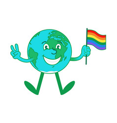 cartoon character earth hold lgbt pride flag vector image