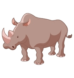 Cartoon grey Rhinoceros vector image