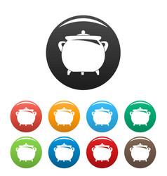 Cauldron icons set color vector
