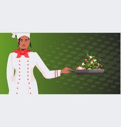 Chef in uniform preparing fresh salad happy labor vector